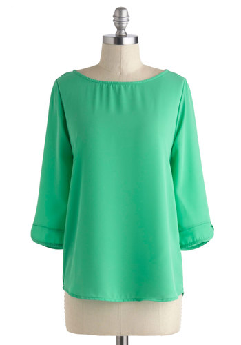 What's Your Secret? Top in Jade - Mid-length, Green, Solid, Work, 3/4 Sleeve, Boat, Variation