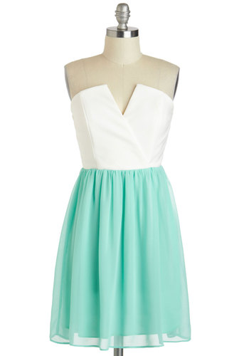 Pop of Peppermint Dress - Short, White, Mint, Party, A-line, Strapless, Wedding, Pastel, Graduation, Bridesmaid