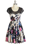 Homegrown Glamour Dress - Sheer, Short, Floral, Party, Fit & Flare, Cap Sleeves, Scoop, Multi