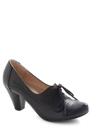 Right Here Heel in Black by Chelsea Crew - Black, Solid, Vintage Inspired, 20s, 30s, Mid, Work, 40s, Leather, Faux Leather, Lace Up, Variation, Fall