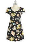 Pocketful of Posies Dress - Short, Black, Multi, Floral, Casual, A-line, Short Sleeves, Scoop, Summer