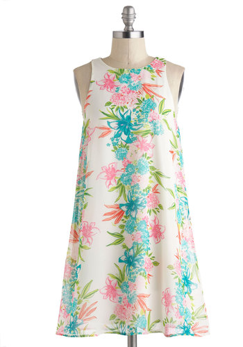 Tropic Sentence Dress - Short, Floral, Casual, Tent / Trapeze, Sleeveless, Crew, Beach/Resort, Summer, White, Multi