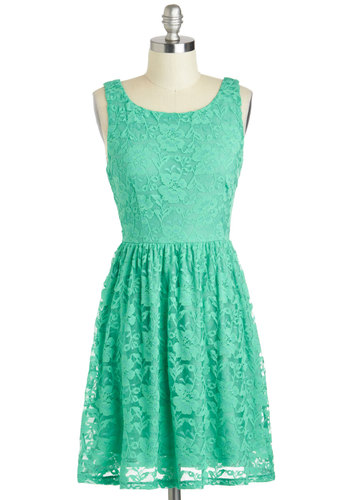 Only Thyme Will Tell Dress - Mid-length, Mint, Solid, Lace, Party, A-line, Sleeveless, Boat, Pastel, Graduation