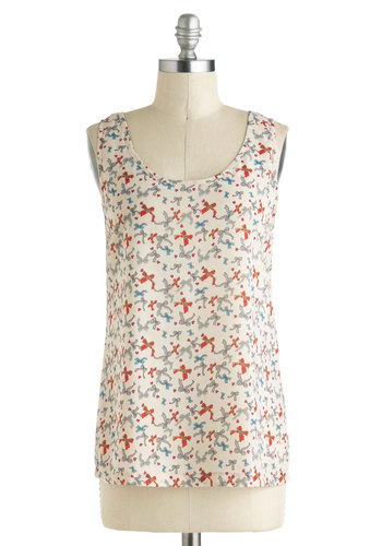 A Good Tie Was Had by All Top - Sheer, Mid-length, Multi, Red, Blue, Grey, Novelty Print, Sleeveless, Tan / Cream, Bows, Summer