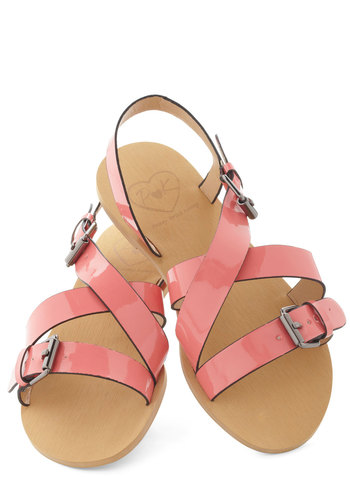 Daiquiri Darling Sandal - Pink, Solid, Buckles, Strappy, Casual, Pastel, Summer
