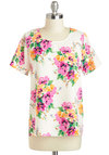 Flying Hibiscus Top - White, Orange, Green, Pink, Floral, Short Sleeves, Mid-length, Work, Exposed zipper, Casual, Summer