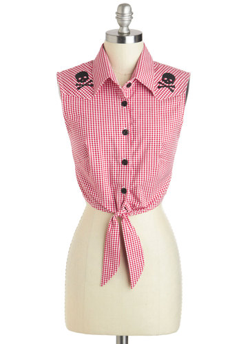 Barn to Run Top - Cotton, Short, Red, Black, White, Checkered / Gingham, Buttons, Embroidery, Beach/Resort, Rockabilly, Vintage Inspired, Sleeveless, Collared, Summer, Pinup