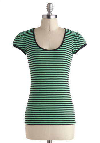 Fields of Clover Top - Jersey, Mid-length, Green, Black, Stripes, Casual, Cap Sleeves, Scoop, Cutout, Travel, Top Rated, Green, Short Sleeve