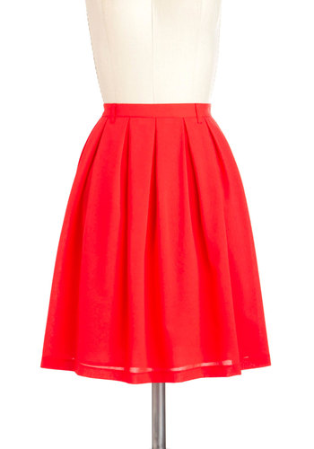 Punch Bowl Perusal Skirt - Mid-length, Red, Solid, A-line, Casual, Beach/Resort, Press Placement