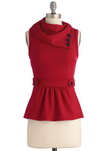 Coach Tour Top in Ruby - Mid-length, Red, Solid, Buttons, Work, Vintage Inspired, 40s, Sleeveless, Best Seller, Variation