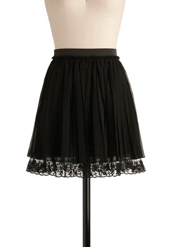 Just Sway Yes Skirt - Black, Solid, Lace, Pleats, Trim, Formal, Party, Casual, Short, A-line