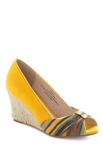 Spice Shop Wedge by Restricted - Yellow, Multi, Solid, Stripes, Wedge, Espadrille, Peep Toe, Ruching, Mid, Casual, Beach/Resort, Spring