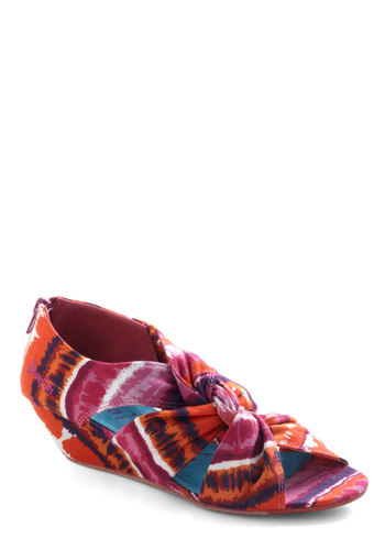 Early Arrival Wedge in Tie Dye - Tie Dye, Low, Wedge, Peep Toe, Pink, Multi, Cutout, Beach/Resort, Boho, Variation, Summer