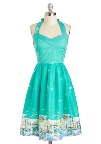 Regatta Love It Dress - Cotton, Long, Green, Multi, Print, Pockets, Daytime Party, A-line, Halter, Sweetheart, Beach/Resort, Vintage Inspired, Summer, Pinup