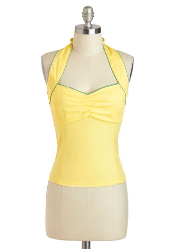Self A-shirred Top - Cotton, Short, Yellow, Green, Solid, Trim, Pinup, Vintage Inspired, 50s, Halter, Summer