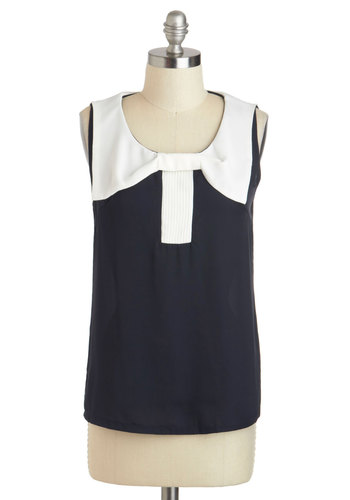 Billow the Decks Top - Blue, White, Bows, Sleeveless, Sheer, Mid-length, Work, Nautical, Summer