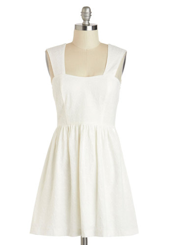 We Shall Daisy Dress - Solid, Eyelet, Casual, A-line, Sweetheart, Short, White, Sleeveless, Cotton, Spring, Pinup, Summer