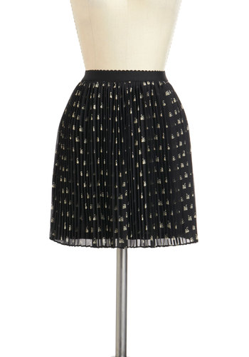 Three, Two, Swan Skirt - Black, White, Pleats, Chiffon, Print with Animals, Work, Daytime Party, Short