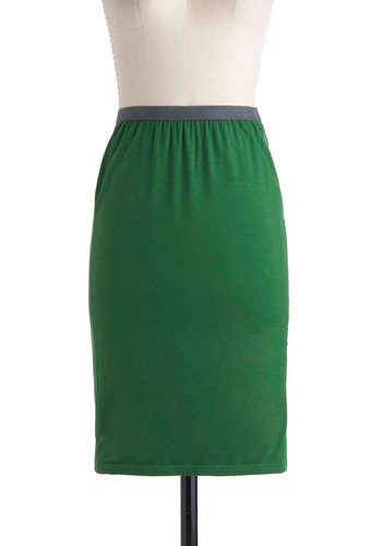 Pencil Pusher Skirt - Green, Grey, Solid, Mid-length, Work, Pencil, Minimal
