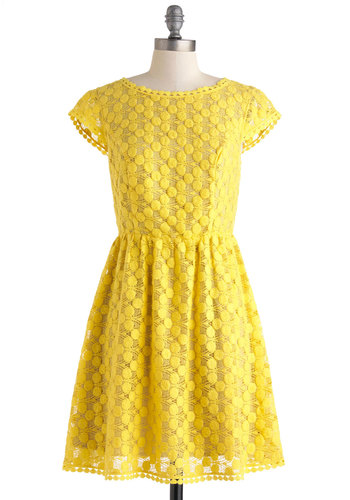 Girls Just Wanna Have Sun Dress - Mid-length, Yellow, Solid, Crochet, Embroidery, Party, A-line, Cap Sleeves, Crew, Daytime Party, Vintage Inspired