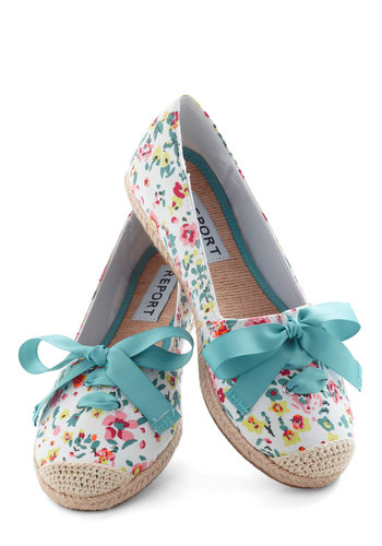 Fresh Foot Forward Flat - Flat, White, Multi, Floral, Crochet, Espadrille, Casual, Spring, Travel