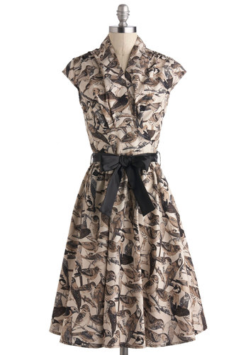 So Happy to Feather Dress - Print with Animals, Cotton, Long, Black, Belted, Casual, Fit & Flare, Cap Sleeves, Brown, Tan / Cream