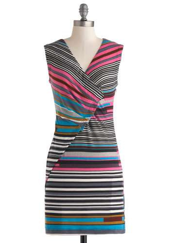 Stripe It Big Dress - Mid-length, Multi, Stripes, Casual, Sleeveless, V Neck, Sheath / Shift, Summer