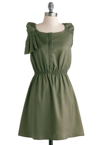 Olive in the Moment Dress - Mid-length, Green, Solid, Pleats, Party, A-line, Sleeveless