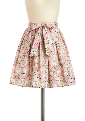 Bloom to Grow Skirt - Cotton, Short, Pink, Green, Tan / Cream, Floral, Pleats, Daytime Party, Graduation, A-line, Belted, Summer