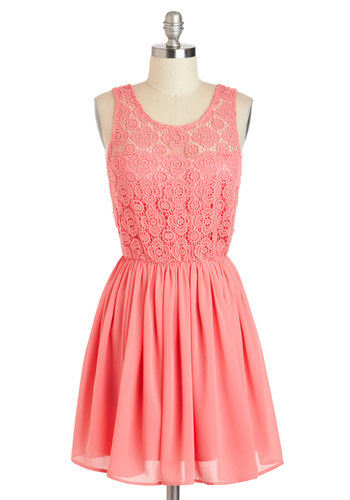 Don't Make Me Blush Dress - Chiffon, Short, Pink, Solid, Crochet, A-line, Tank top (2 thick straps), Scoop, Wedding, Daytime Party, Pastel, Sheer, Bridesmaid