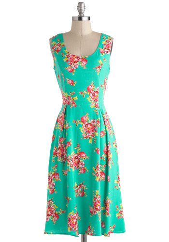 In Full Flourish Dress - Long, Green, Floral, Pleats, Daytime Party, A-line, Sleeveless, Scoop