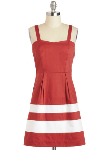 Among Your Piers Dress - Red, White, Solid, Pleats, Pockets, Casual, A-line, Spaghetti Straps, Sweetheart, Beach/Resort, Nautical, Summer, Cotton, Short