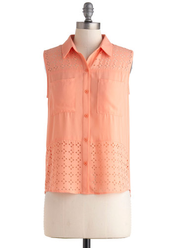 Tri Your Luck Top - Coral, Solid, Buttons, Cutout, Pockets, Sleeveless, Collared, Sheer, Mid-length, Pastel, Summer