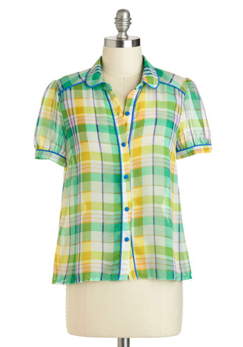 Trivia Champ Top in Green - Sheer, Mid-length, Green, Yellow, Plaid, Buttons, Casual, Short Sleeves, Collared, Rustic, Variation, Summer