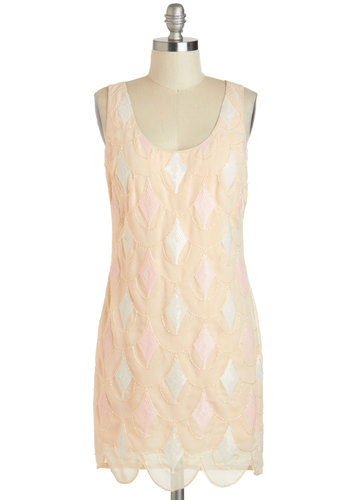 Not a Prosecco Too Soon Dress - Cream, Pink, White, Beads, Scallops, Sequins, Party, Sheath / Shift, Tank top (2 thick straps), Scoop, Cocktail, Vintage Inspired, 20s, Pastel, Mid-length