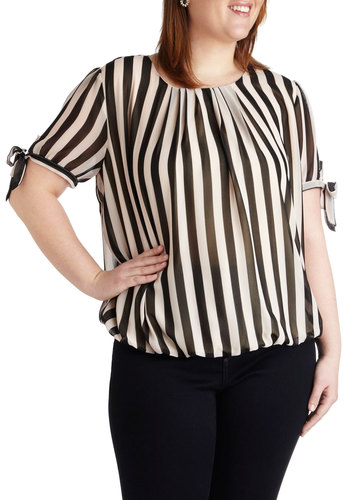 Benefit Bash Top in Plus Size - Chiffon, Black, White, Stripes, Pleats, Work, Casual, French / Victorian, Short Sleeves