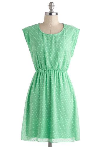 Destined for Achieve-Mint Dress - Mid-length, Mint, Solid, Embroidery, Casual, A-line, Cap Sleeves, Scoop, Pastel, Spring