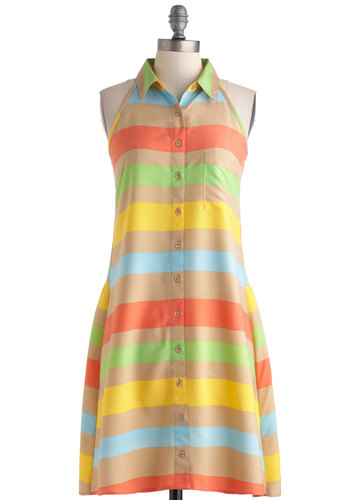 Rainbow Perfection Dress - Multi, Red, Yellow, Green, Tan / Cream, Stripes, Buttons, Pockets, Casual, Shirt Dress, Button Down, Racerback, Collared, Beach/Resort, Short, Spring