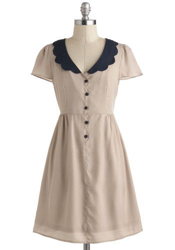 Dipping Candles Dress by Tulle Clothing - Mid-length, Tan, Blue, Buttons, Peter Pan Collar, Scallops, Casual, Vintage Inspired, A-line, Shirt Dress, Short Sleeves, V Neck, Solid