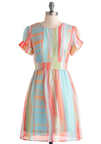 Do the Brushstroke Dress - Multi, A-line, Short Sleeves, Stripes, Casual, Spring, Crew, Sheer, Mid-length