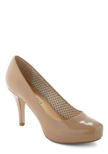 Have It Down Patent Heel in Beige by Steve Madden - Tan, Solid, Mid, Work