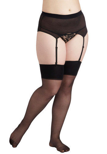 Sassy Lady Garter and Thigh High Set in Black - Plus Size - Black, Solid, Sheer