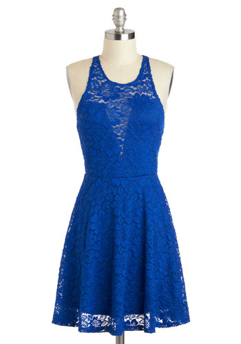 Anything for Blue Dress - Short, Blue, Solid, Cutout, Lace, Party, A-line, Racerback, Scoop, Prom