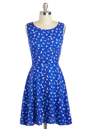 Friendly Skies Dress - Mid-length, Blue, White, Print with Animals, Casual, A-line, Sleeveless, Boat