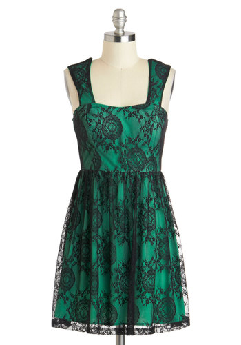 Emerald Envy Dress - Short, Green, Black, Lace, Party, A-line, Tank top (2 thick straps), Sweetheart, Holiday Party, Green