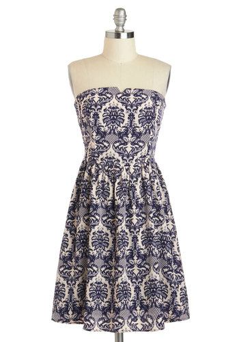 Resort Runway Dress - Short, Blue, White, Print, Casual, A-line, Strapless