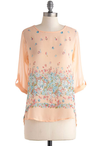 Feeling Floral Top - Sheer, Mid-length, Orange, Blue, Pink, Floral, Casual, Long Sleeve, 3/4 Sleeve, Orange, Tab Sleeve