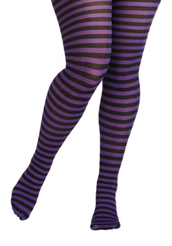 Starlet and Stripes Tights in Violet - Plus Size