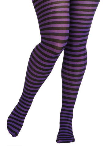 Starlet and Stripes Tights in Violet - Plus Size - Sheer, Stripes, Party, Girls Night Out, Purple, Black