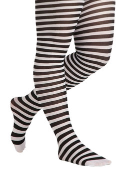 Starlet and Stripes Tights in White - Plus Size